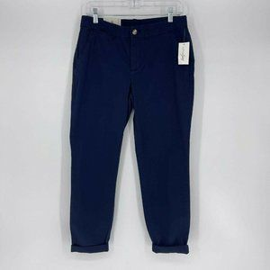 Maison Jules Womens Essential Pant Size 6 Blue Indigo Mid Rise Fitted Hip NWT